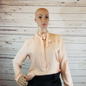 Ann Taylor Mock Neck Peach Blouse Size S